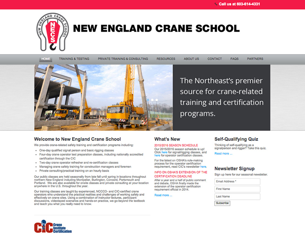 New England Crane School Website